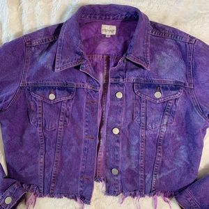 Sundance 90s Grunge Tie Dye Crop Denim Jacket